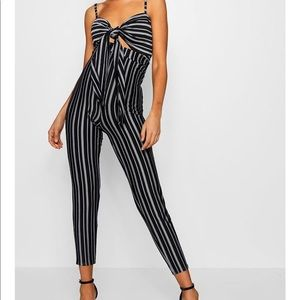 NWT BooHoo Tie Front Jumpsuit